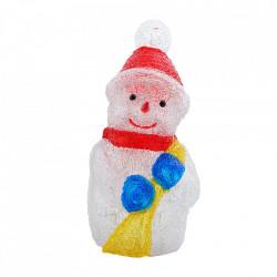 Decoratiune de exterior cu lumini, Om de zapada cu matura din acril, 40 Led-uri, dimensiune produs 45cm, 8 jocuri de lumini, cablu de alimentare 3m