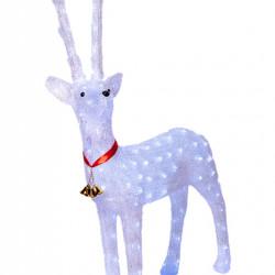 Decoratiune de exterior , Ren din acril, dimensiune produs 100cm, culoare alb, 144 Led-uri, 8 jocuri de lumini, cablu de alimentare 3 m