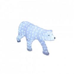 Decoratiune de esterior cu lumini, Urs Polar din acril, 224 Led-uri, dimensiune produs 120cm, 8 jocuri de lumini, cablu de alimentare 3m
