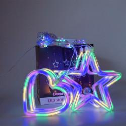 Instalatie in forma de Inimioare cu Stelute , BL-382-M, Lumina Multicolor