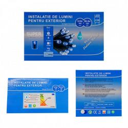 Instalatie Lumini de exterior, fir 100 Led- Lumina alb / albastru 10m, cu mufa de imbinare, SW-100G-WB