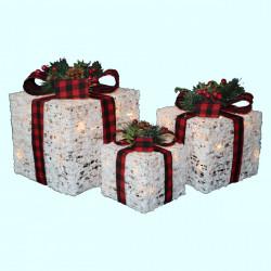 Set 3 cutii cadou din plastic si ratan cu lumini 80 led-uri albe calde + transformator, TP-19