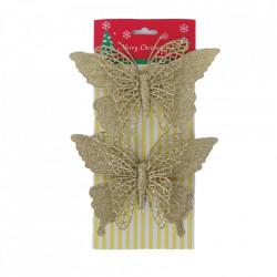 Decoratiune brad fluturas, glitter auriu, dimensiune 18*21cm