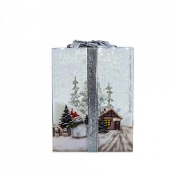 Felinar Muzical cu zapada articiala, Cutie de cadou transparenta cu Om de Zapada, WB-20-S , 48cm