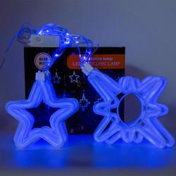 Instalatie in forma de Romburi cu Stele , BL-379-B, Lumina Albastra