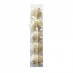 Set 5 globuri din polistiren imbracate in sfoara de rafie , culoare crem, cu diametru de 12cm