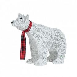 Urs alb cu fir de bumbac cu spray de zapada, cu lumini LED de 50L alb cald + transformator