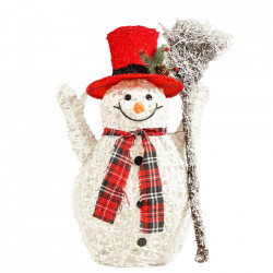 Om de zapada pe cadru de sarma imbracat cu fire de bumbac alb si cu spray de zapada, cu 40 LED-uri albe lumina calde