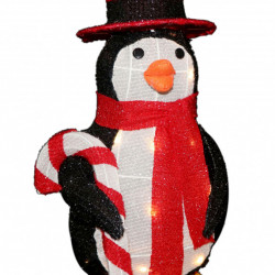 Pinguin din cadru de sarma cu 30 Led-uri lumina calda, 54cm, TP-23