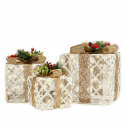Set 3 cutii cadou din plastic si ratan cu lumini 80 led-uri albe calde + transformator