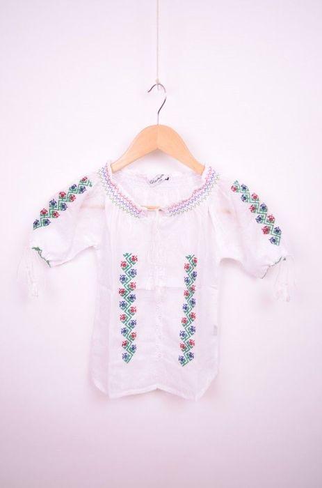 Poze Bluza de fetite cu broderie rosie si verde