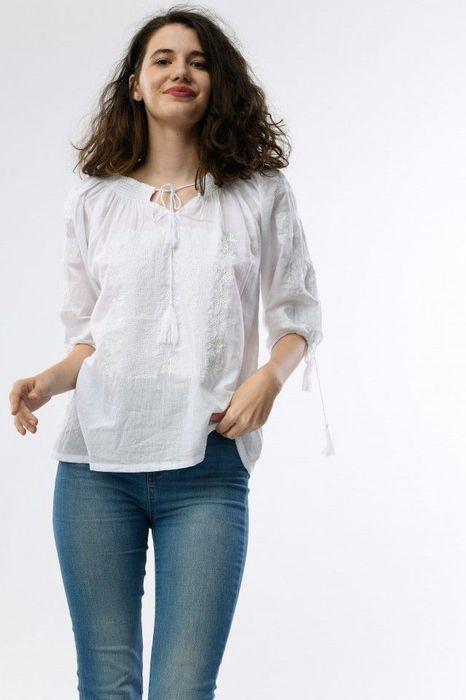 Poze Bluza traditionala dama, maneca trei sferturi, cu broderie alba
