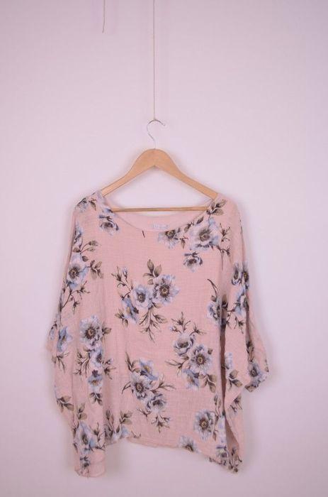 Poze Bluza de dama, dublata, din in, cu imprimeu floral