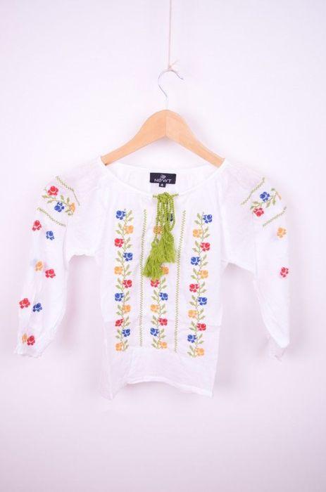 Poze Bluza traditionala de fetite cu broderie flori colorate