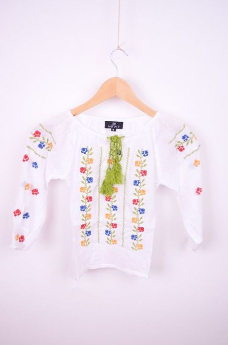 Bluza traditionala de fetite cu broderie flori colorate images