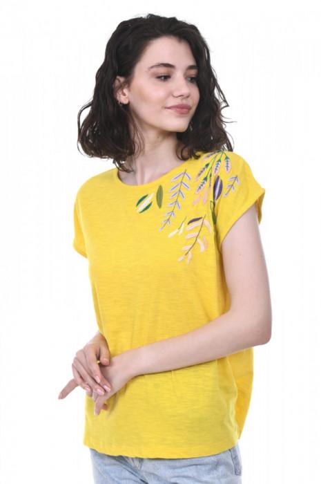 Poze Tricou galben dama, din bumbac