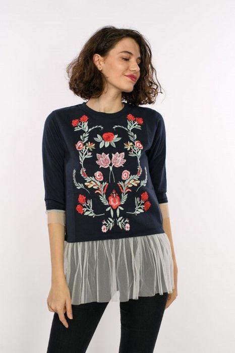 Poze Bluza de dama cu detaliu broderie cu tulle