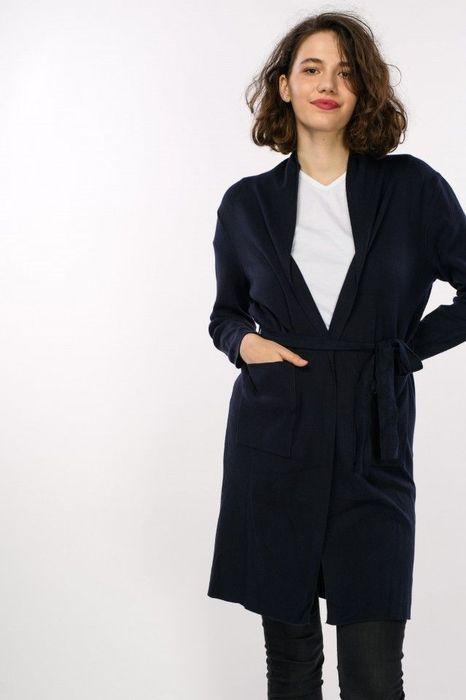 Poze Jacheta lunga tricot, cu cordon, de dama