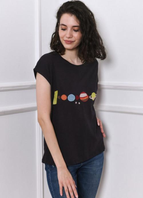 Tricou negru petrol cu imprimeu planete