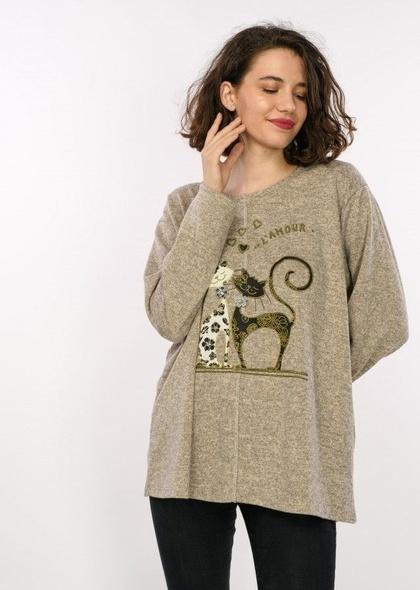 Bluza de dama cu imprimeu pisici