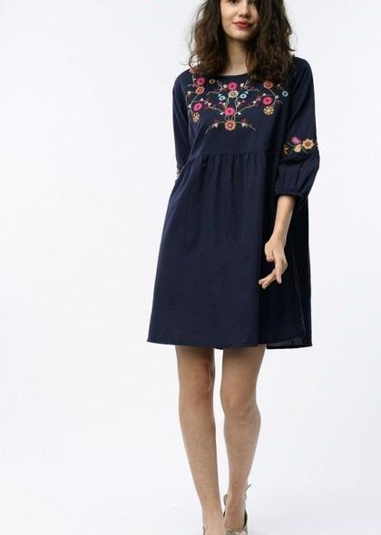 Rochie cu broderie florala colorata