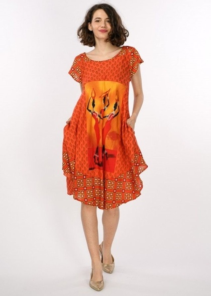 Rochie tip umbrela cu imprimeu colorat