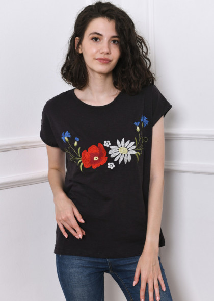 Tricou negru petrol cu broderie colorată