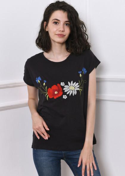 Tricou Newt cu broderie florala, negru petrol