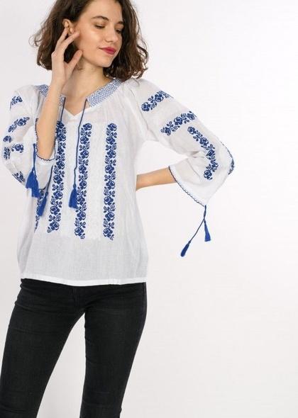 Bluza traditionala de dama, cu broderie, maneca lunga