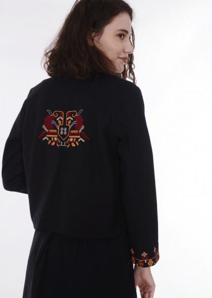 Jachetă stil tradițional cu broderie colorată