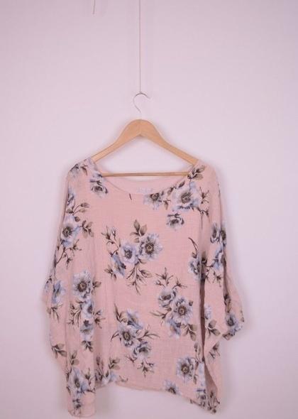 Bluza de dama, dublata, din in, cu imprimeu floral