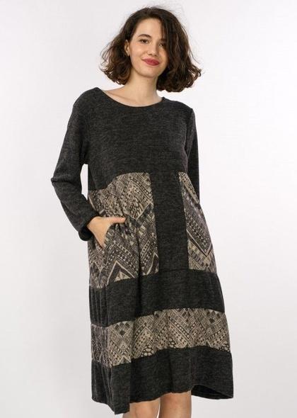 Rochie Color Block Culoare negru cu imprimeu geometric de culoare bej