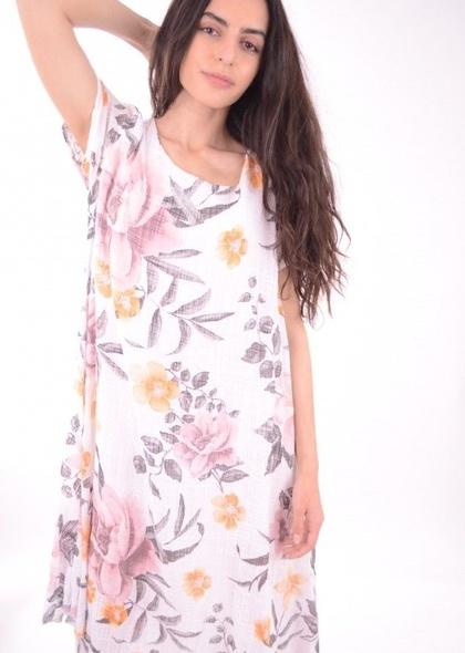 Rochie dublata, cu imprimeu colorat