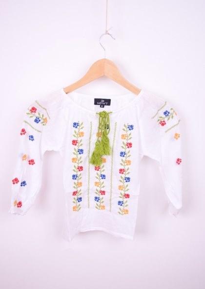 Bluza traditionala de fetite cu broderie flori colorate