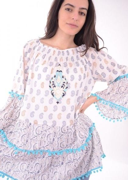 Bluza/tunica cu ciucuri colorați