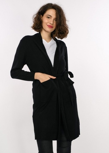 Jacheta lunga tricot, cu cordon, de dama
