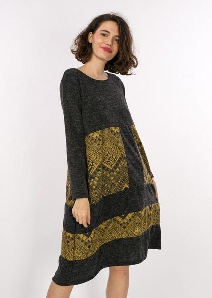 Rochie Color block de culoare negru cu Imprimeu geometric de culoare galbena