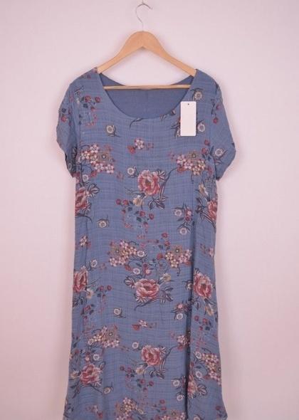 Rochie din in dublata, cu imprimeu floral,