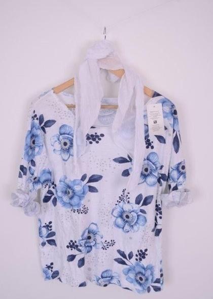 Bluza imprimateu floral, cu esarfa
