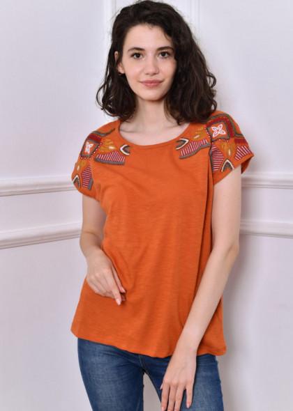Tricou Newt cu broderie si margele colorate pe umeri, portocaliu rust