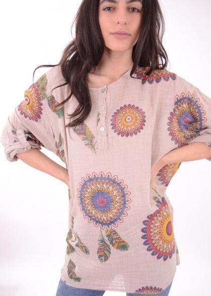 Bluza de dama cu imprimeu floral, marime mare