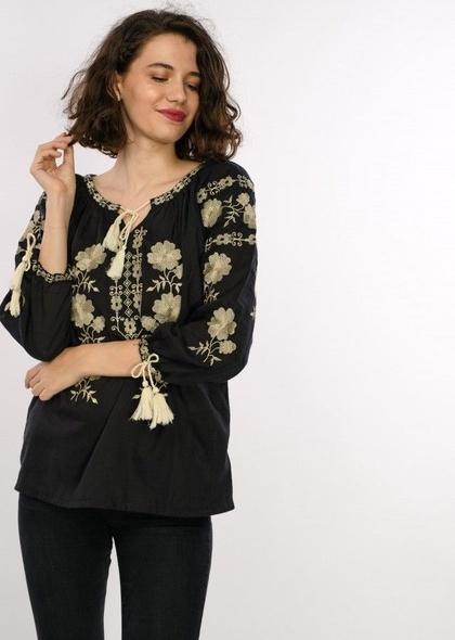 Bluza traditionala dama, maneca trei sferturi, cu broderie colorata