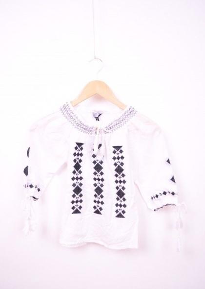Bluza traditionala de fetite cu broderie neagra