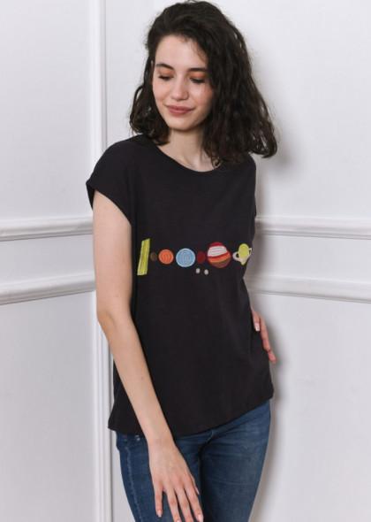 Tricou Newt cu planete brodate, negru petrol
