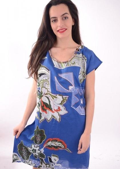 Rochie maneca scurta, cu imprimeu colorat