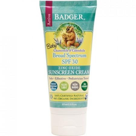 Crema protectie solara SPF 30, cu musetel, pt bebelusi, Badger, 87 ml