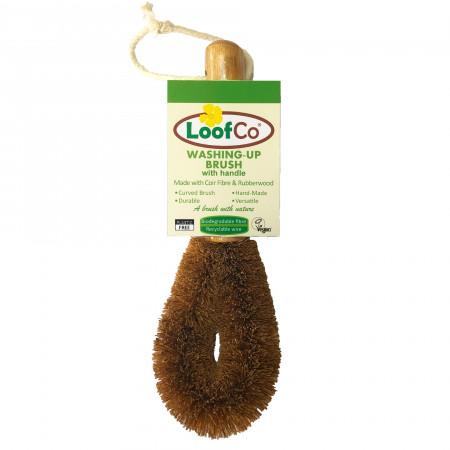 Perie lufa, cu maner, din fibre de cocos, pentru spalat vasele, LoofCo