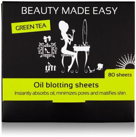Foite matifiante, cu ceai verde, pentru ten, 80 buc, Beauty Made Easy