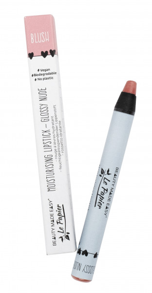 Creion - ruj hidratant GLOSSY NUDE-BLUSH, zero plastic, Beauty Made Easy, 6 g