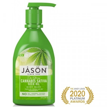 Gel de dus hipoalergenic, relaxant cu ulei din seminte de Cannabis, Jason, 887 ml